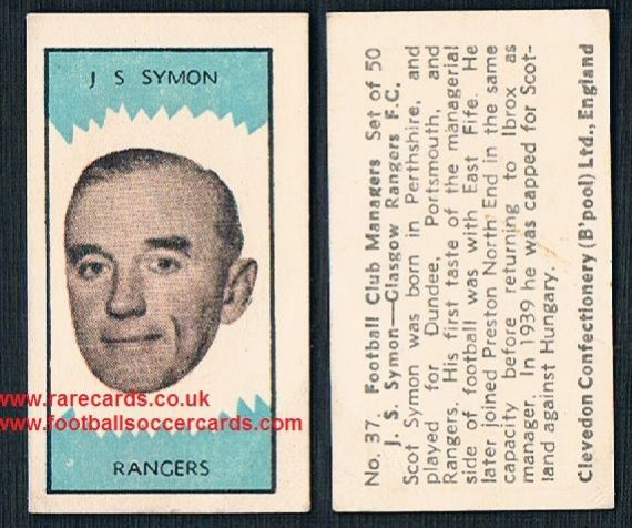 1959 Clevedon Football Club Managers card J.S. Symon Dundee Portsmouth Rangers